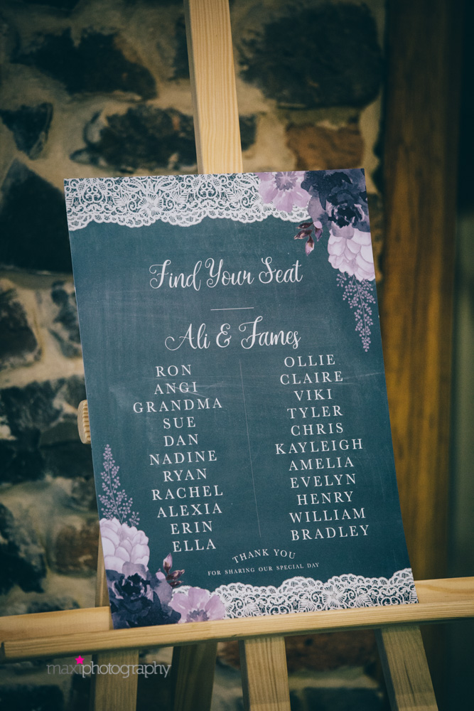 Table plan on easel