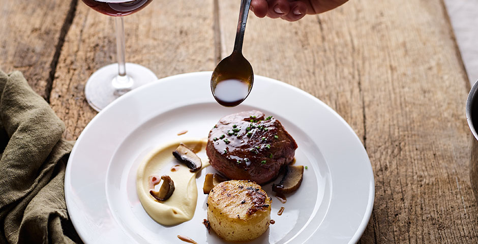 Fillet of beef with wild mushrooms, celeriac puree and a red wine jus