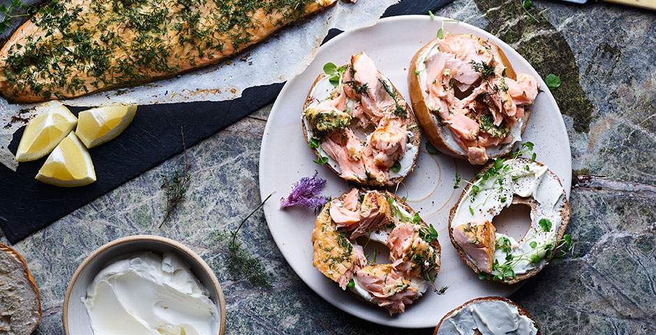Whole sides of dill roasted salmon, fresh baked bagels, cream cheese