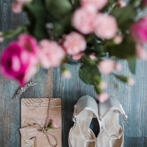 Wedding invitation and shoes