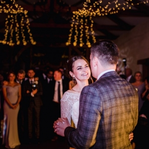 Bridea and grooms first dance in cider barn