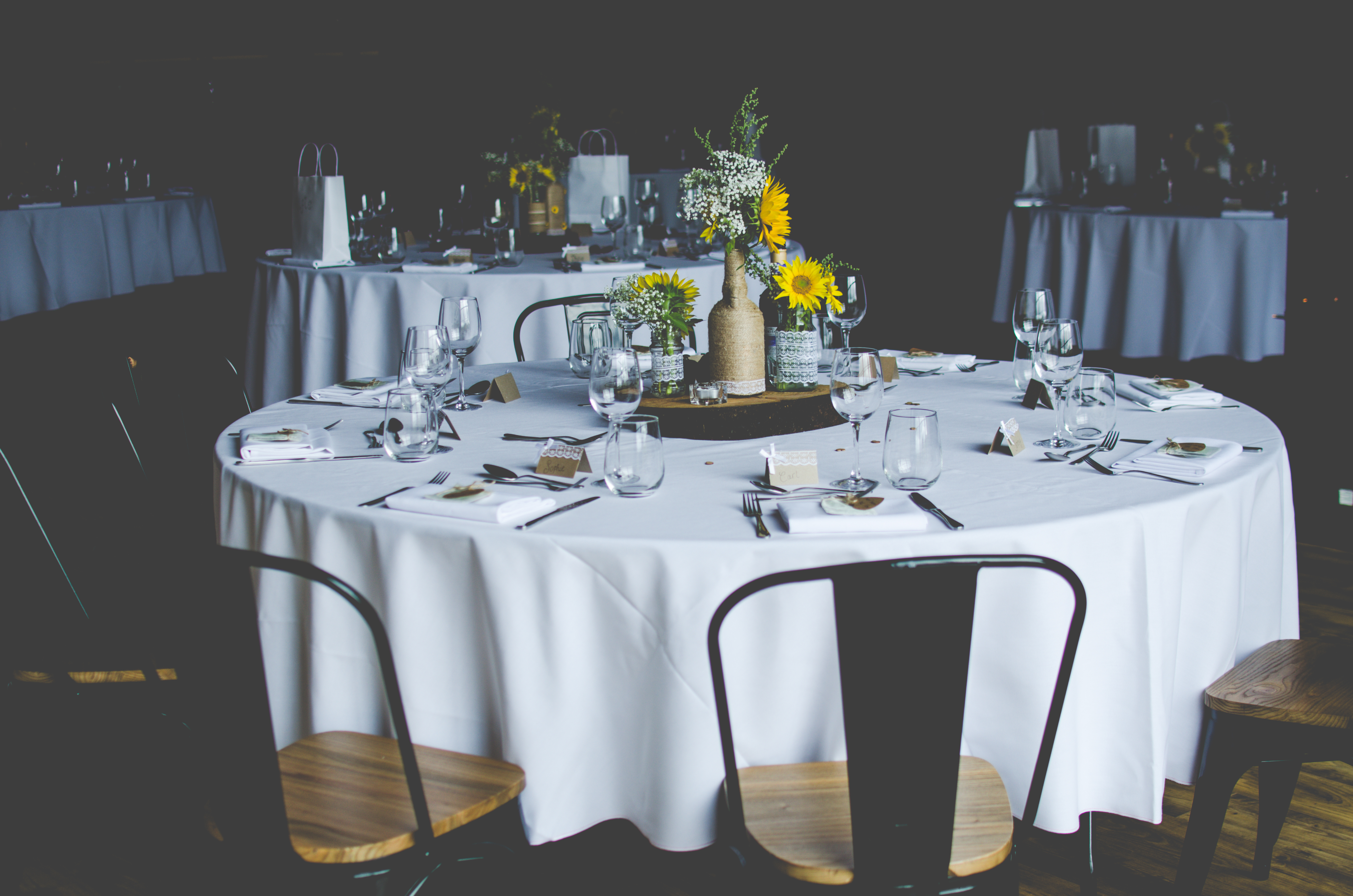 Wedding breakfast tables