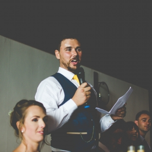 Groom delivers his wedding speech
