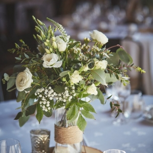 Close up of wedding table centrepiece