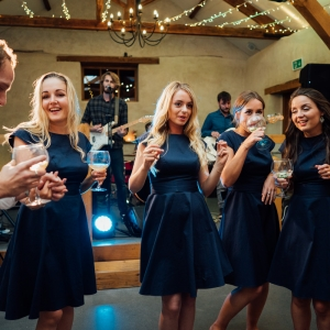 Bridesmaids sip drinks by the band