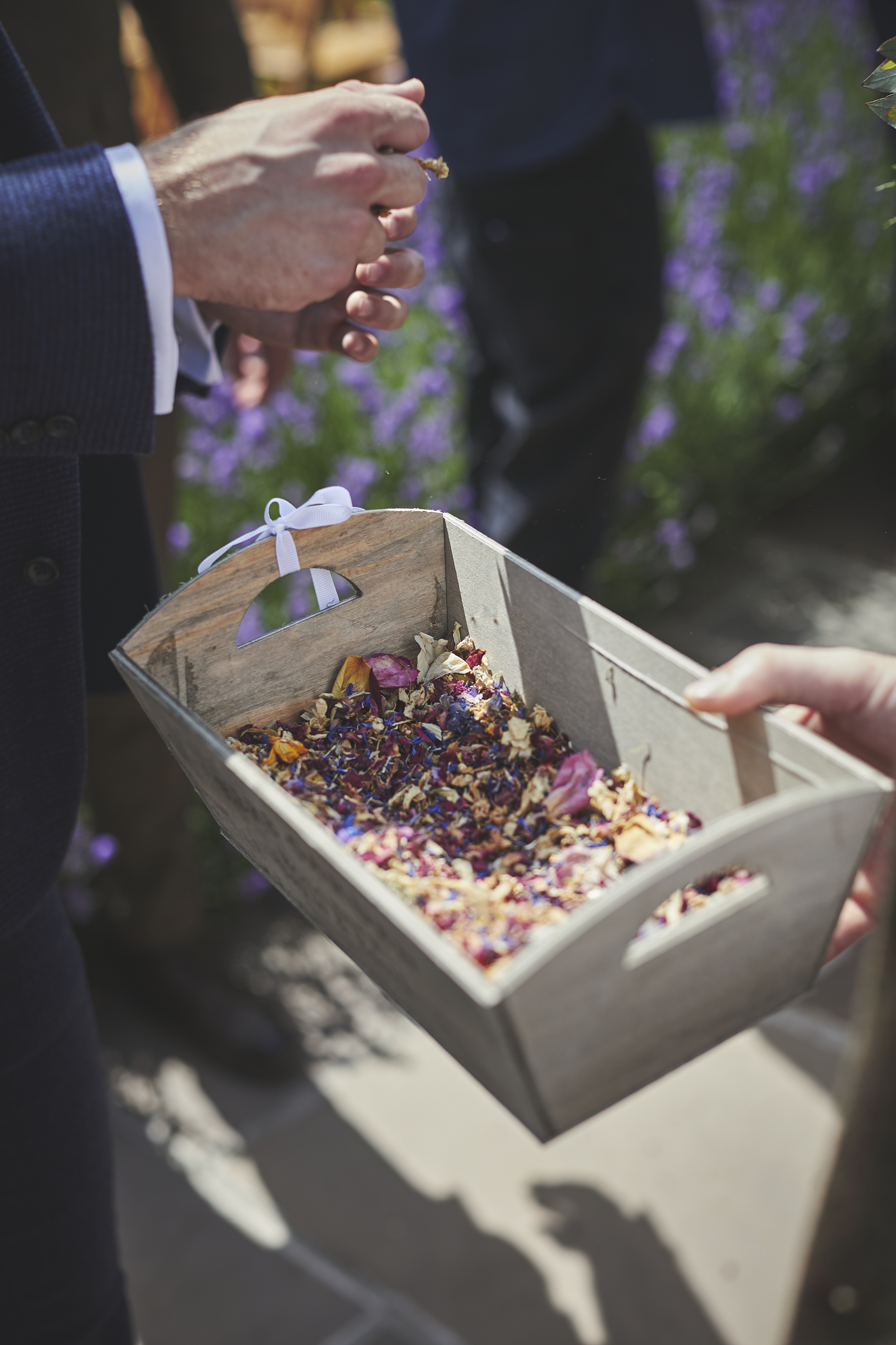 Close up of basket of natural dried flower confetti