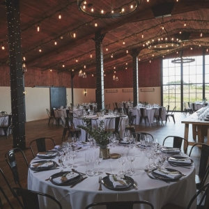 Wedding Breakfast set up in The Stable Barn at Upton Barn
