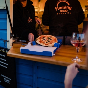 Pizza served from food truck at Wedding