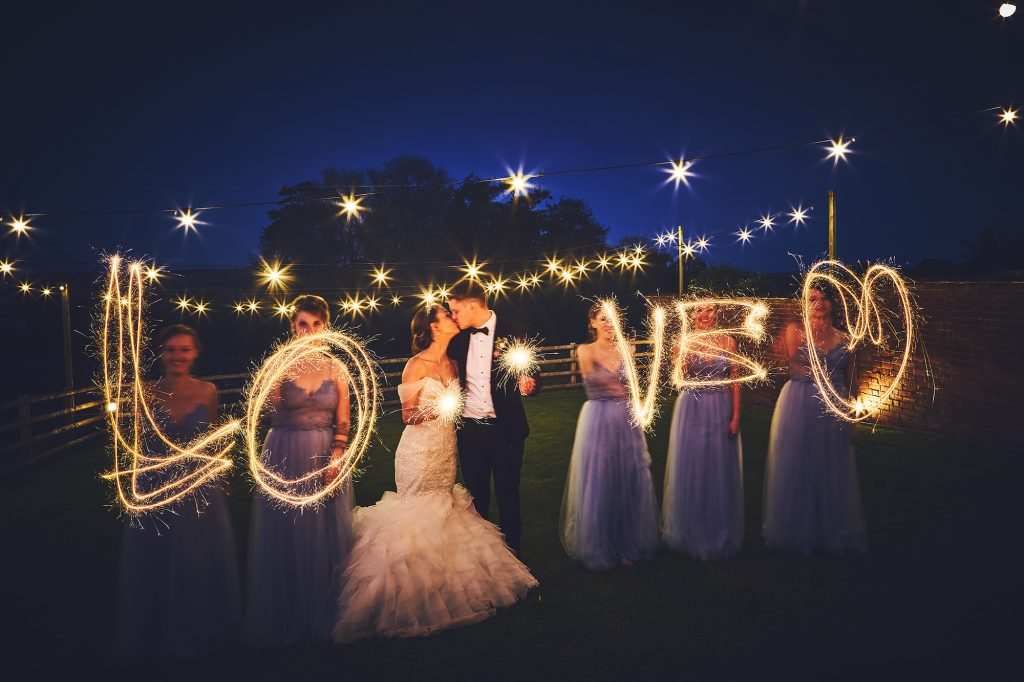 Love written with sparklers by Nova