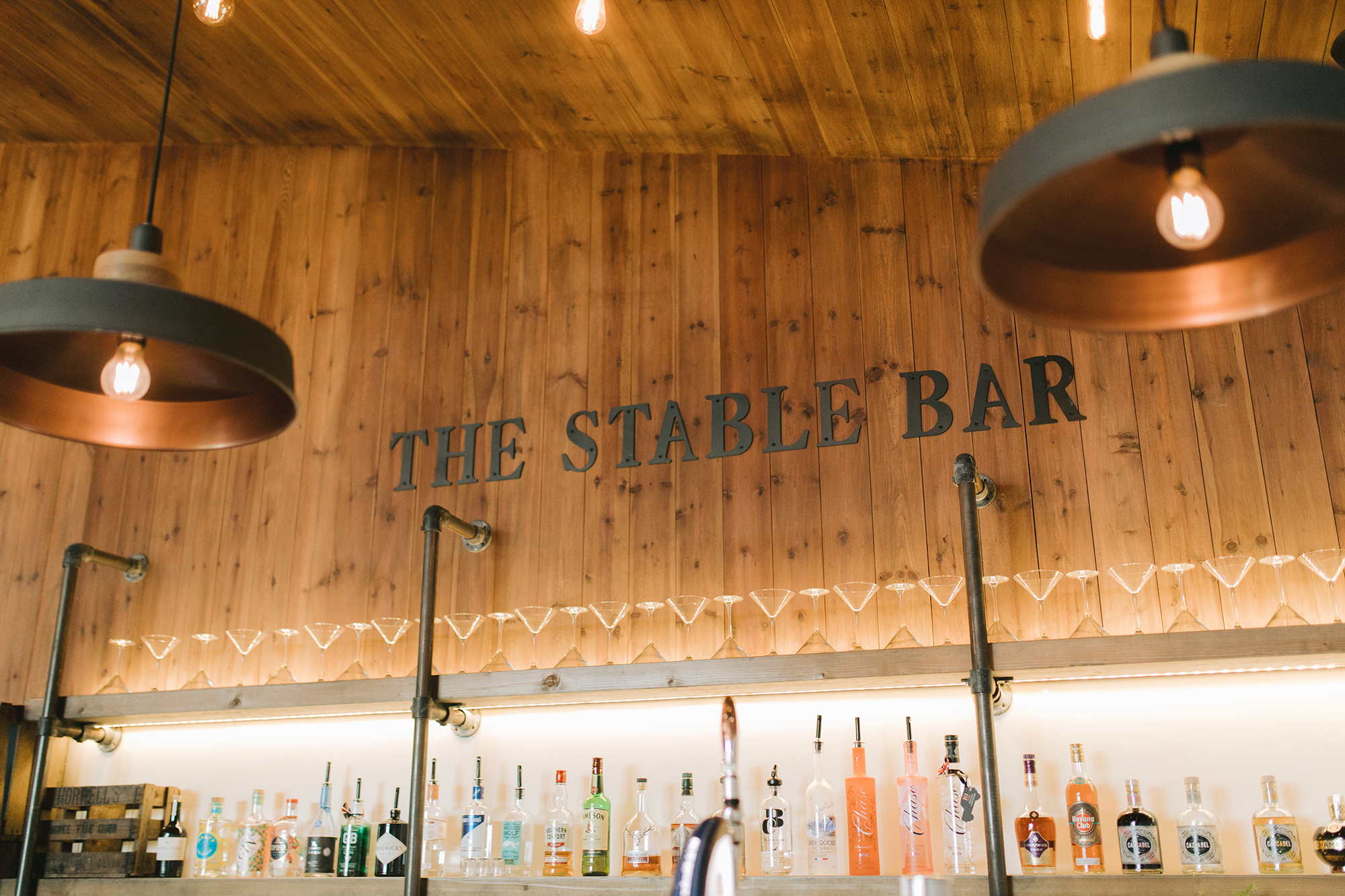 The Stable Barn Bar drinks and glasses display