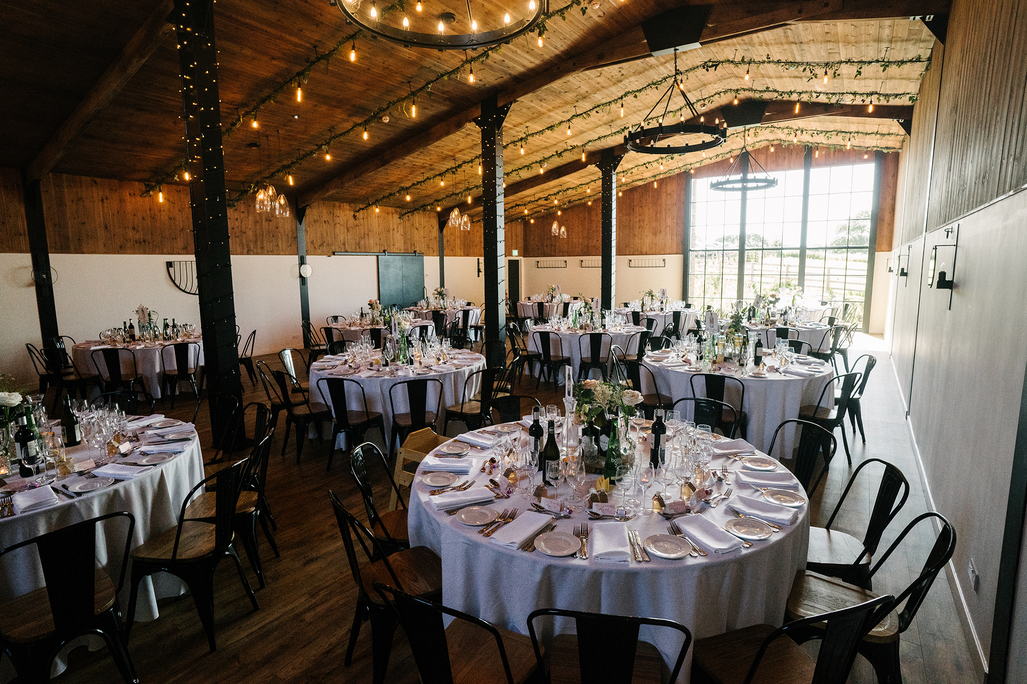 The Stable barn at Upton Barn dressed for a Wedding Breakfast