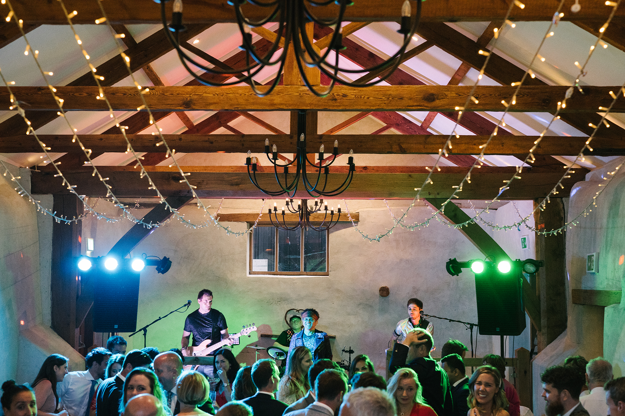 Live band plays to a packed crowd in the Cider Barn at Upton Barn and Walled Garden