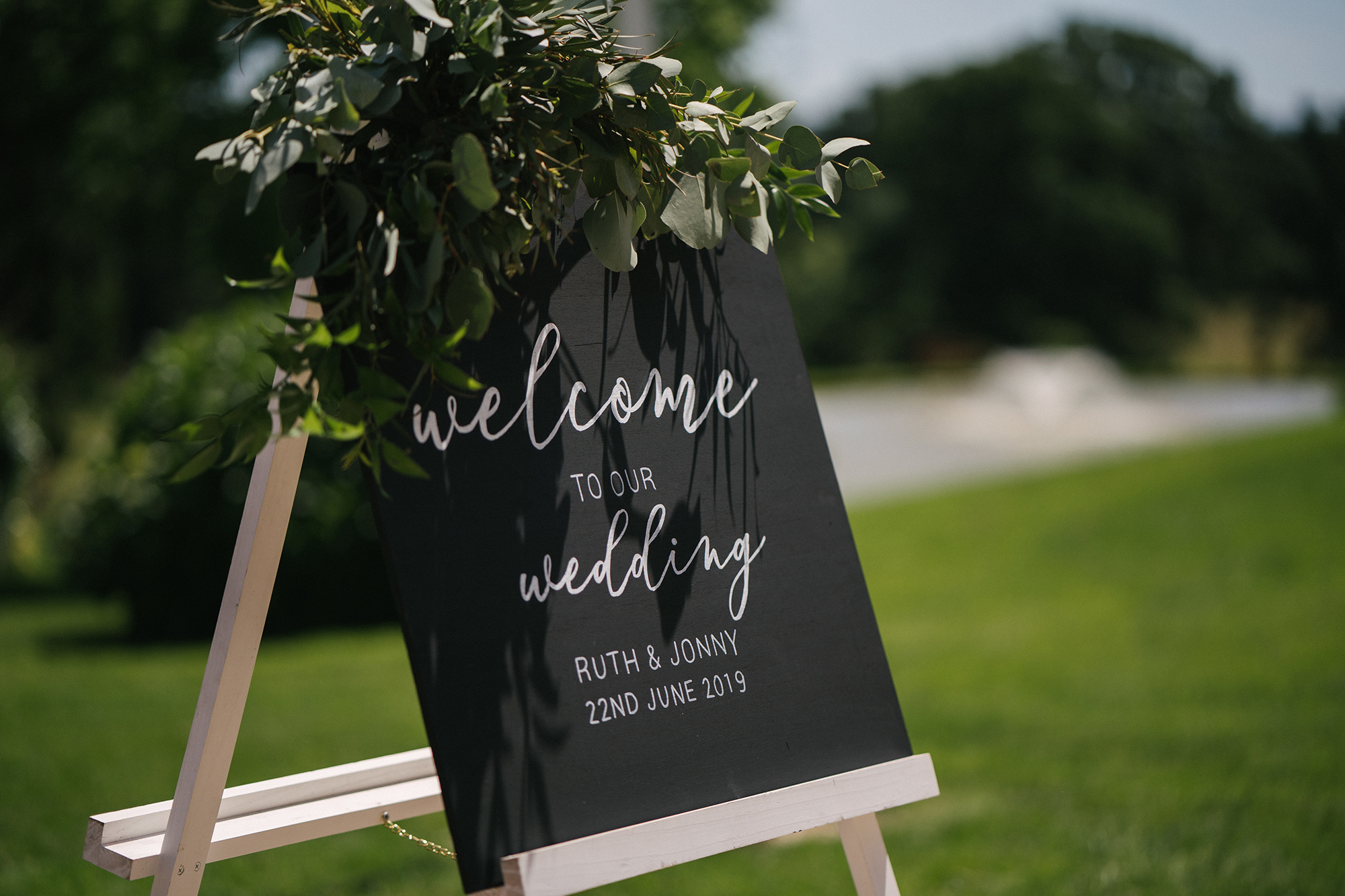 Welcome to our wedding sign at the entrance to Upton Barn