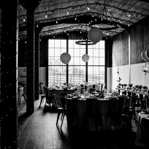 Black and White photo of The Stable Barn Dressed for a Wedding Breakfast