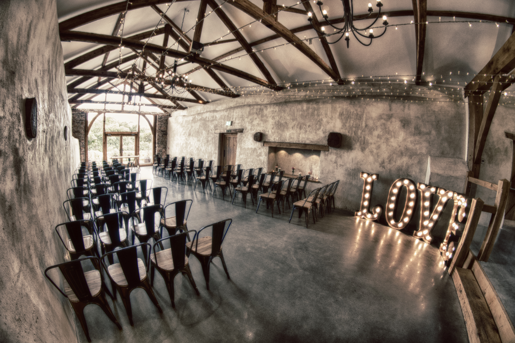 The Cider Barn at Upon set for a Civil Wedding
