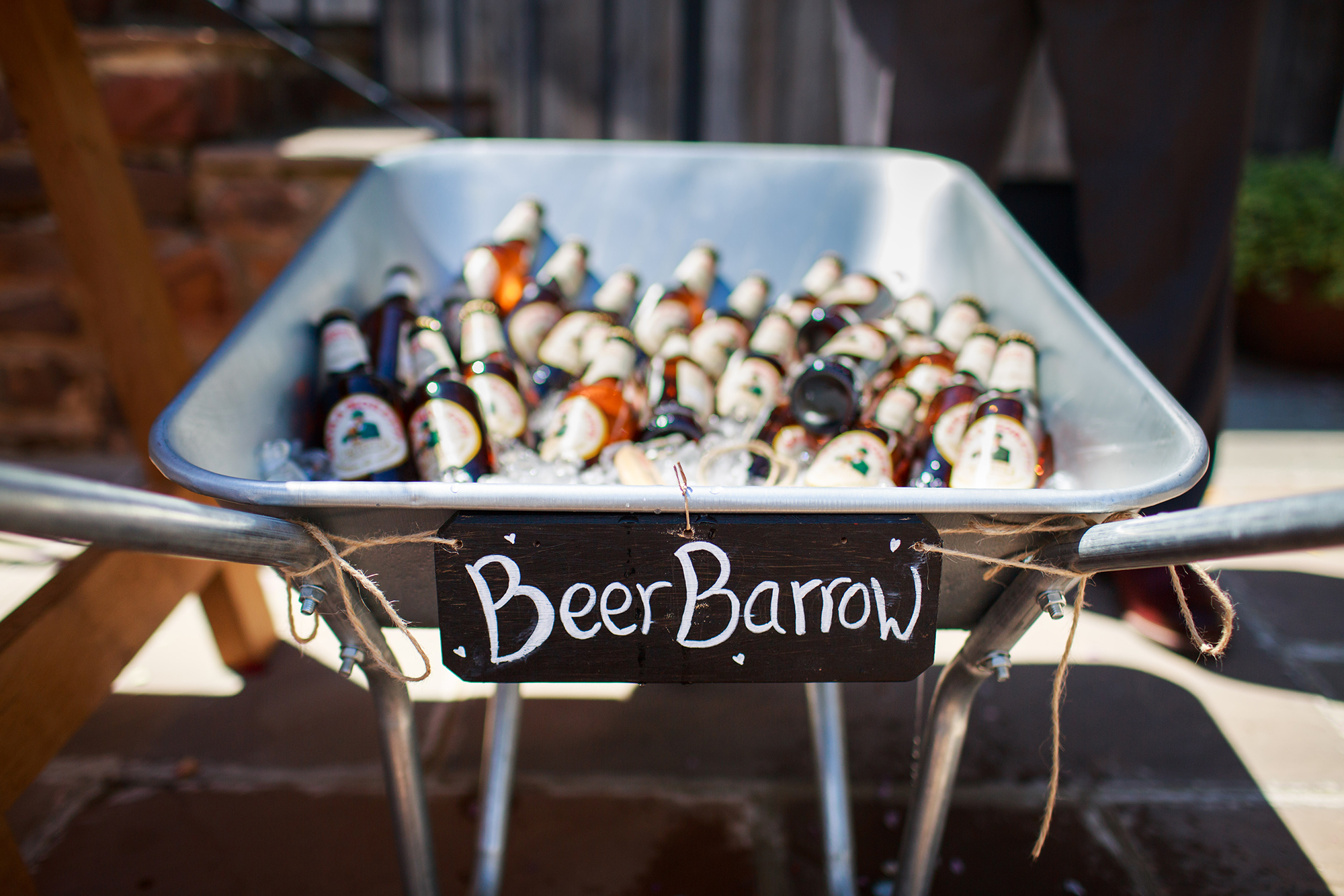 Beer Barrow filled with bottle and ice