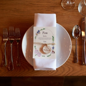 Close up of wedding breakfast place setting on wooden table