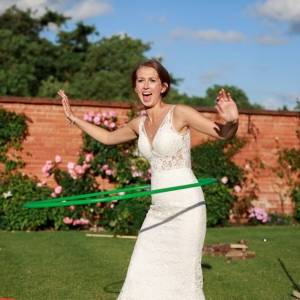 Bride hula hoops in the Walled Garden