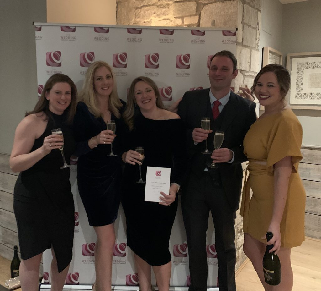 Sarah, Rosie, Claire , Rich & Nat collecting the highly commended award for 'Events Team' at the 2019 TWIA regional awards.