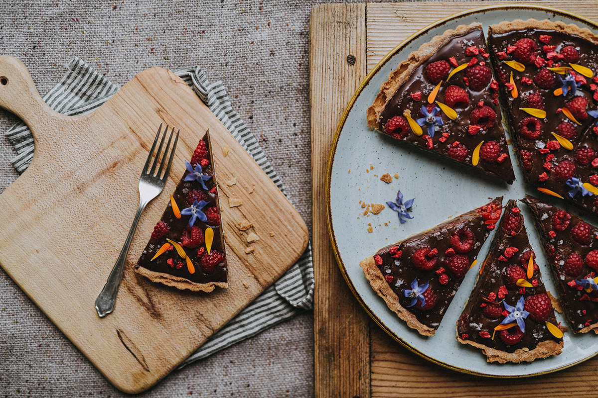 Pickle Shack | Floral Chocolate and Raspberry Tart